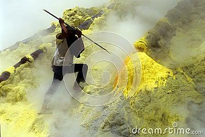Digging sulfur