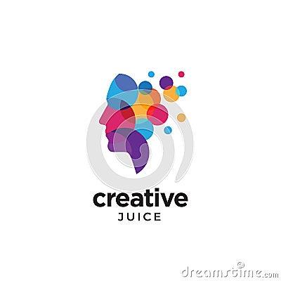 Digital Abstract human head logo for creative Vector Illustration