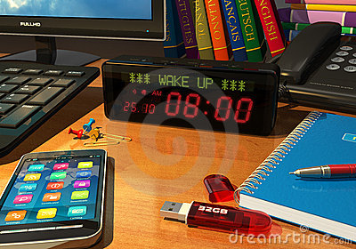 Digital alarm clock on table