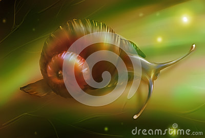 Digital art of a snail on the leaf