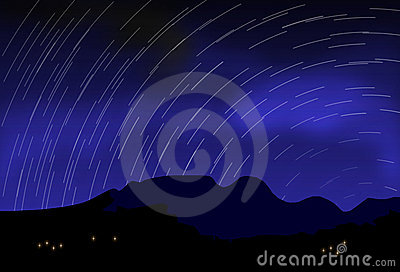 Digital blurred starry sky at night