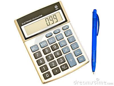 Digital calculator and ballpoint pen