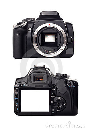 Digital camera front and rear view