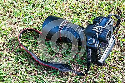 Digital camera on grass