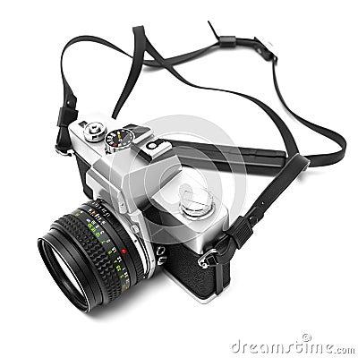 Digital camera isolated on white background DSLR