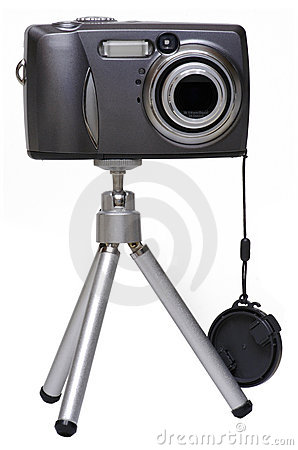 Free Digital Camera On A Tripod - Isolated Stock Image - 618471