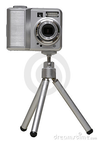 Digital Camera on a Tripod - Isolated