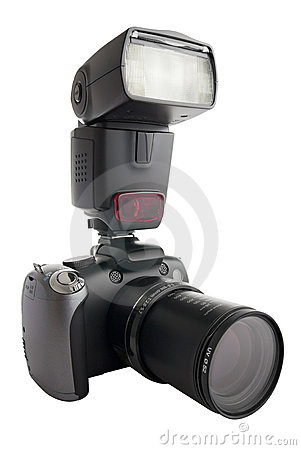 Free Digital Camera With Zoom Barrel And Flash Royalty Free Stock Photos - 16985578
