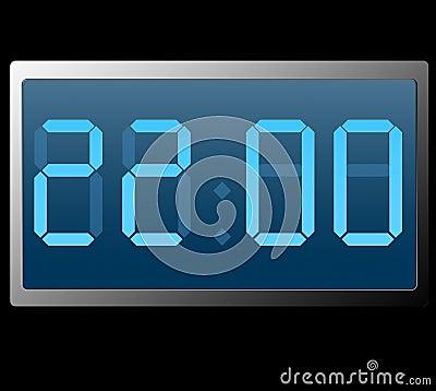 Digital Clock Showing Twenty Two Hundred Hours Royalty ...