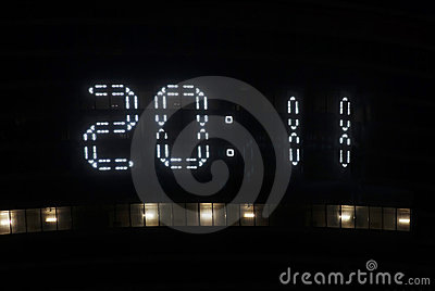 Digital clock on top of a skyscraper show 2011