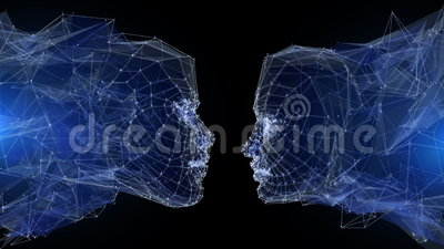Digital communication. Lowpoly man and woman head. Communication in the modern world concept