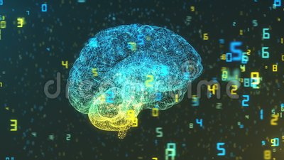 Digital Computer Brain and floating numbers - Big Data and statistics. Digital computer brain 3D render floating in cloud of numerical information illustrating stock illustration