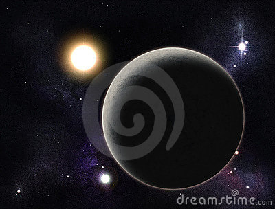 Digital created starfield with planet
