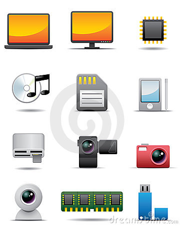 Digital Electrical Appliance Icon Set -- Premium S