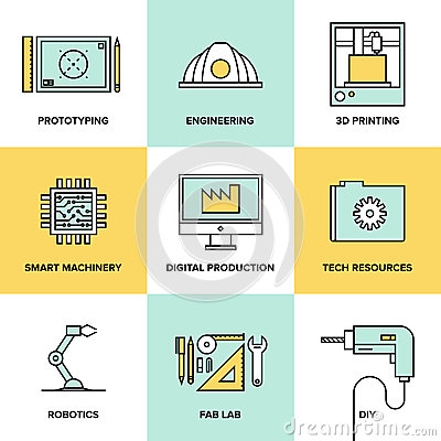 Free Digital Engineering And Production Flat Icons Set Stock Images - 42209514