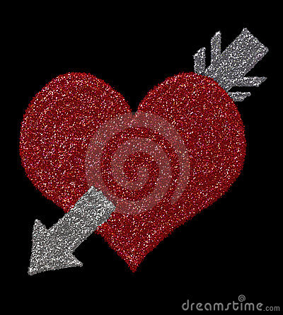 Digital glitters: heart with arrow