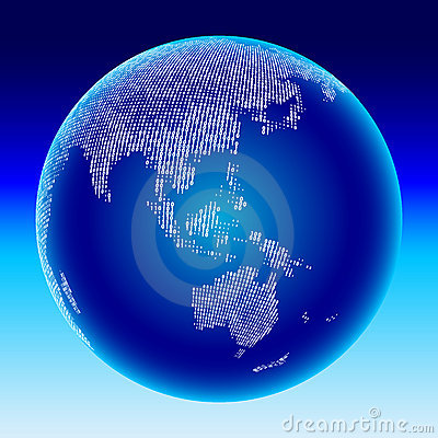 Digital globe. Australia, Asia.