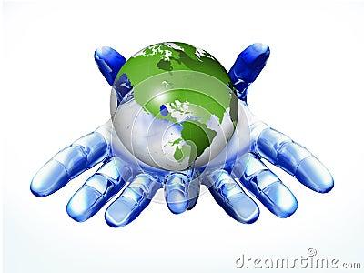 Digital hand with globe
