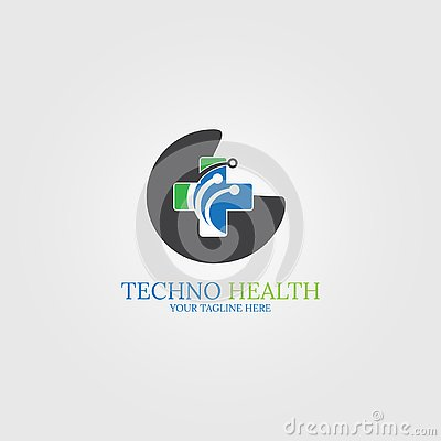 Digital health icon template, logo technology for business corporate, medical tech, creativity symbol, illustration - Cartoon Illustration