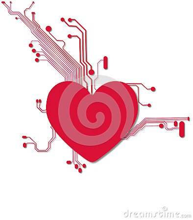 Digital Heart in Red and White