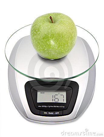 Digital kitchen scale with apple