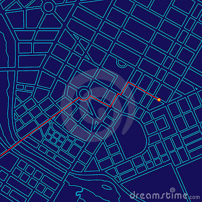 Free Digital Map Tracking With GPS Royalty Free Stock Photos - 23224958
