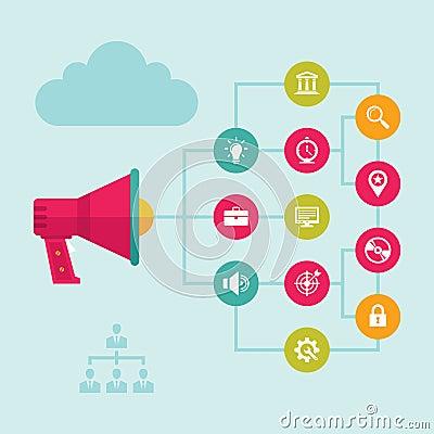 Digital Marketing & Advertising - Loudspeaker Concept Vector Illustration