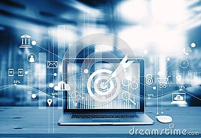 Digital marketing concept. Blue tone. Modern laptop screen Stock Photo