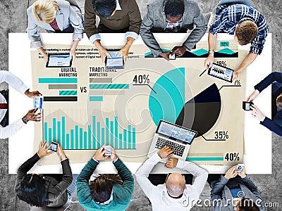 Digital Marketing Graph Statistics Analysis Finance Market Conce Stock Photo