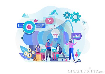 Digital marketing strategy team. Content manager. Flat cartoon character graphic design. Stock Photo