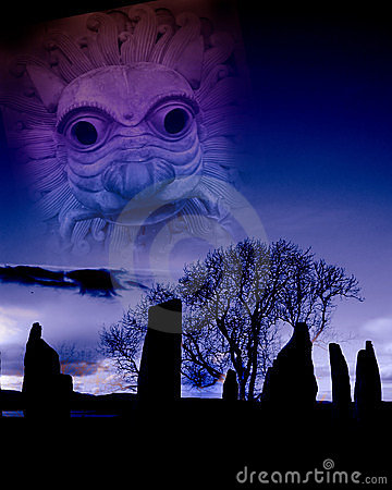 Digital montage with several images inspired  by a the ancient heritage of the British Isles
