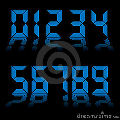 Digital numbers clock blue