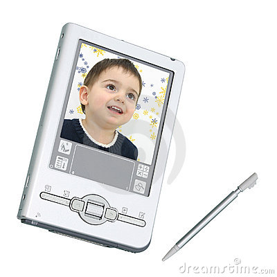 Digital PDA & Stylus Over White