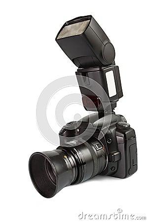 Digital photo camera with external flash