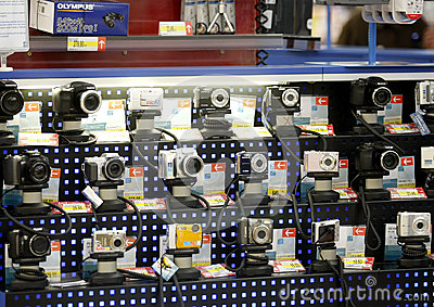 Digital photo cameras shop Editorial Photo