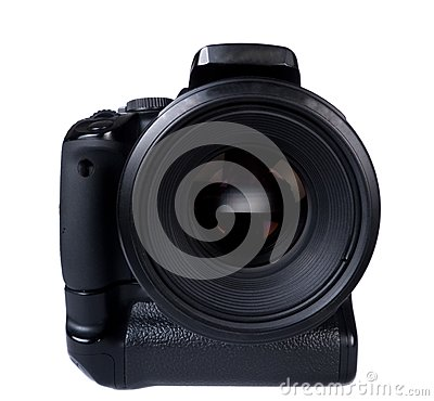 Digital photocamera with lens