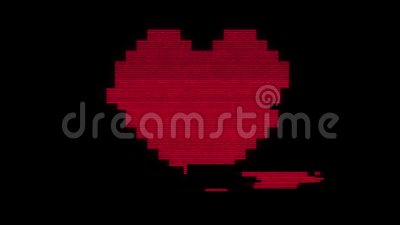 Pixel heart on digital old tv screen seamless loop glitch interference animation new dynamic holiday retro joyful stock video