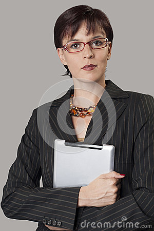 Digital tablet and beautiful businesswoman