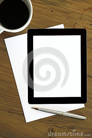 Digital Tablet with Coffee Pen and Paper