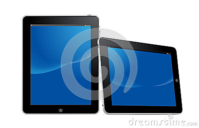 Digital tablet device in vertical and horizontal v