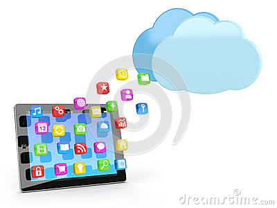 Digital tablet pc with app icons