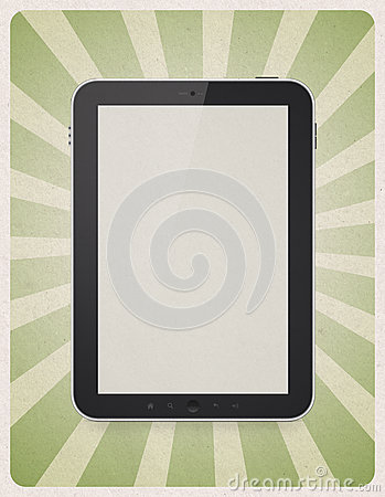 Digital tablet on retro background