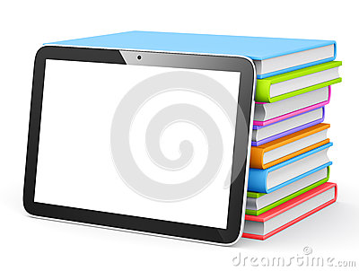 Digital Tablet With Stack of Books