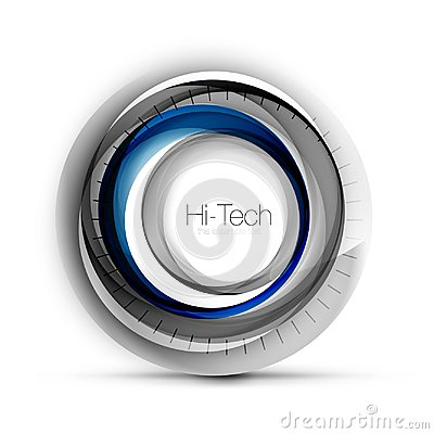 Free Digital Techno Sphere Web Banner, Button Or Icon With Text. Glossy Swirl Color Abstract Circle Design, Hi-tech Stock Photo - 111816550