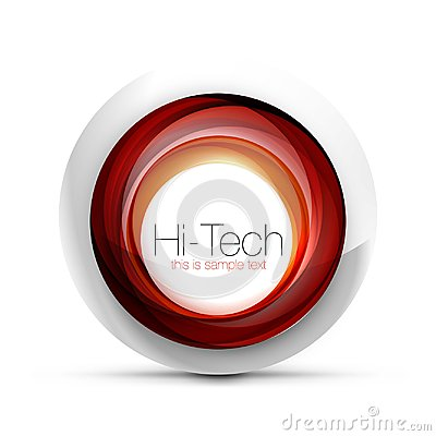 Free Digital Techno Sphere Web Banner, Button Or Icon With Text. Glossy Swirl Color Abstract Circle Design, Hi-tech Stock Photo - 113685580