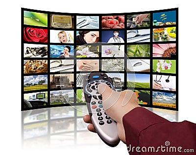 Digital television, remote control TV.