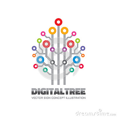 Free Digital Tree - Vector Logo Sign Template Concept Illustration In Flat Style. Computer Network Technology Sign. Electronic Design. Royalty Free Stock Image - 78186226