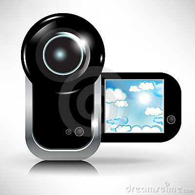 Digital video camera recording sky and clouds