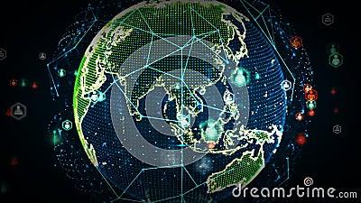 Digital-Weltnetze der Leute-Farbe