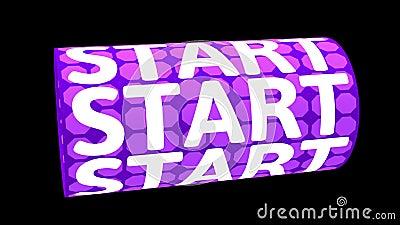 Digitale animatie van START-woord roteren op geanimeerde CG-cilindervorm met paars patroon 3D-rendering stock videobeelden